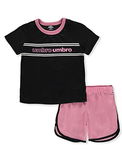 Girls' 2-Piece Shorts Set Outfit by Umbro in black and gray, Girls Fashion