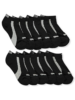 Boys' 6-Pack Low-Cut Socks by Puma in black/gray, charcoal gray/black and yellow