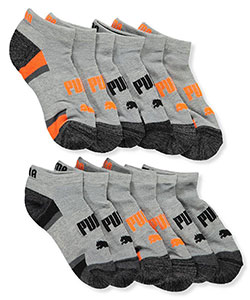 Boys' 6-Pack Low-Cut Socks by Puma in Gray/black