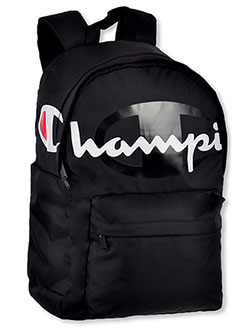 District Logo Backpack by Champion in black and medium blue, School Uniforms