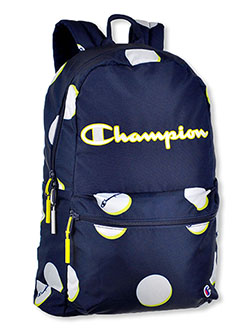 Billboard Hombre Backpack by Champion in blue and heather gray, School Uniforms