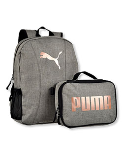 Slim Backpack with Lunchbox by Puma in Gray/pink