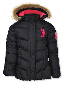 Girls' Insulated Jacket by U.S. Polo Assn. in black, fuchsia and medium pink
