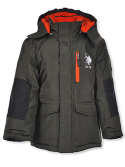 Boys' Insulated Jacket by U.S. Polo Assn. in black and olive, Boys Fashion