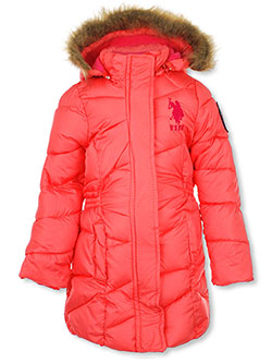 Girls' Insulated Parka by U.S. Polo Assn. in Coral