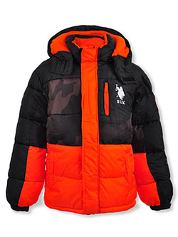 Boys' Tonal Panel Insulated Parka by U.S. Polo Assn. in charcoal gray and orange/camo
