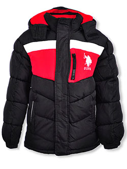 Boys' Stripe Panel Insulated Parka by U.S. Polo Assn. in black, charcoal gray and navy