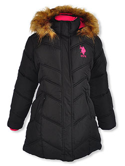 Angled Baffle Insulated Parka by U.S. Polo Assn. in black, fuchsia, medium pink and navy