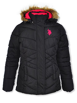 Crisscross Baffle Insulated Jacket by U.S. Polo Assn. in black and medium pink - $29.99