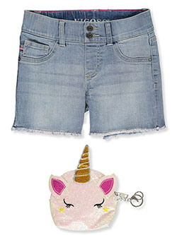 Chelsea Stretch Denim Shorts with Glitter Purse by Vigoss in cloud blue and ethereal blue