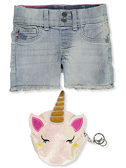 Chelsea Denim Shorts with Glitter Unicorn Zipper Pouch by Vigoss in Blue, Girls Fashion
