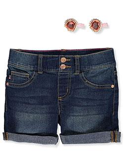 Chelsea Denim Shorts with 2-Pack Glitter Hair Clips by Vigoss in blue and dark blue