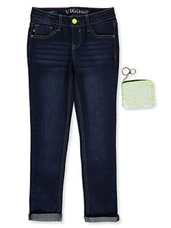 Jagger Skinny Jeans With Flip Sequin Bag by Vigoss in dark blue, jelly fish blue, light blue and phantom, Girls Fashion