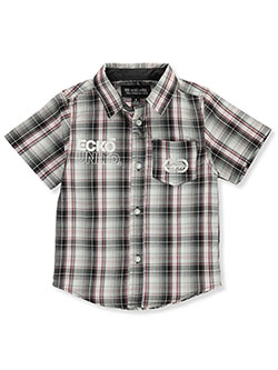 Logo Pocket S/S Button-Down Shirt by Ecko Unltd. in Black, Boys Fashion