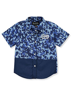 Boys' Digi Camo S/S Button-Down Shirt by Ecko Unltd. in Navy, Sizes 4-7