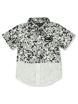 Boys' Digi Camo S/S Button-Down Shirt by Ecko Unltd. in White, Sizes 4-7