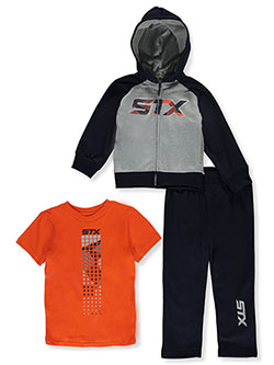 Boys' Grid Logo 3-Piece Joggers Set Outfit by STX in Navy/orange, Boys Fashion