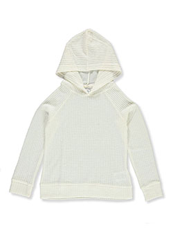Girls' Waffle Hoodie by Wallflower in Cream, Girls Fashion