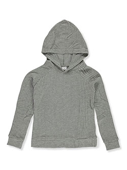 Girls' Waffle Hoodie by Wallflower in Heather gray, Girls Fashion