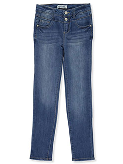 Double Button High-Waisted Skinny Jeans by Wallflower in Denim