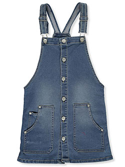 Girls' Button Front Denim Skirtalls by Wallflower in Denim - Overalls & Jumpers