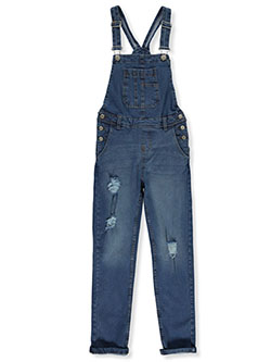 Girls' Rip Accent Denim Overalls by Wallflower in Denim