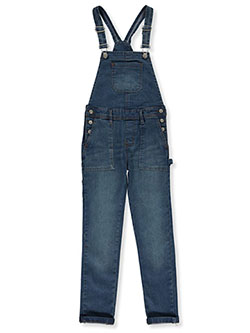 Girls' Utility Pocket Denim Overalls by Wallflower in Denim