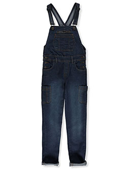 Girls' Cargo Pocket Denim Overalls by Wallflower in Denim