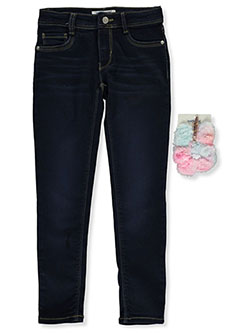 Girls' Skinny Jeans With Scrunchie by Wallflower Girl in Dark blue