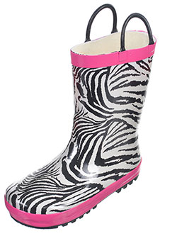"Lilly Girls' ""Lined Zebra"" Rain Boots (Youth Sizes 13 – 3) - CookiesKids.com"