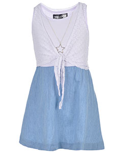 "Chillipop Little Girls' ""Eyelet-Tied"" Dress with Necklace (Sizes 4 – 6X) - CookiesKids.com"