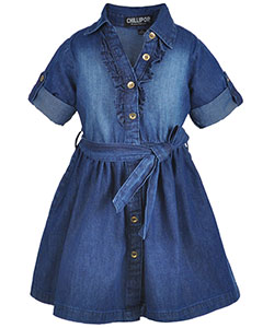 "Chillipop Little Girls' ""Ruffled Fade"" Belted Dress (Sizes 4 – 6X) - CookiesKids.com"