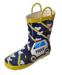 "Lilly Boys' ""Police Line"" Rain Boots (Toddler Sizes 11 – 12) - CookiesKids.com"