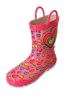 "Lilly Girls' ""Rainbow Heart"" Rain Boots (Toddler Sizes 5 – 10) - CookiesKids.com"