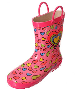 "Lilly Girls' ""Rainbow Heart"" Rain Boots (Youth Sizes 13 – 3) - CookiesKids.com"