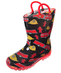 "Lilly Boys' ""Firetruck Brigade"" Light-Up Rain Boots (Toddler Sizes 5 – 10) - CookiesKids.com"