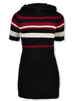 Girls' Hooded Sweater Dress by Chillipop in black/burgundy and pink/black