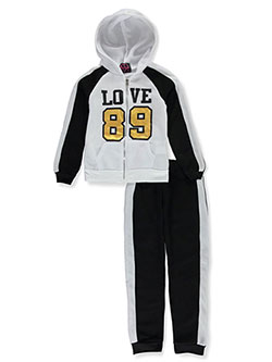 Love 89 2-Piece Sweatsuit Pants Set by Chillipop in black/white and merlot