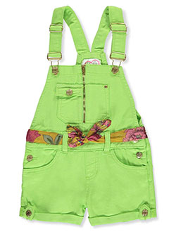 Girls' Denim Shortalls with Belt by Chillipop in green and white