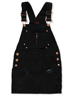 Girls' Distressed Skirtalls by Chillipop in black multi, khaki and pink/multi - Overalls & Jumpers