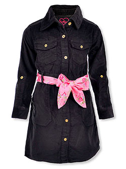 Girls' Floral Belted Denim Dress by Chillipop in black, olive and pink