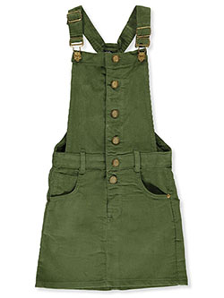 Girls' Button Front Corduroy Skirtalls by Chillipop in olive and pink - Overalls & Jumpers