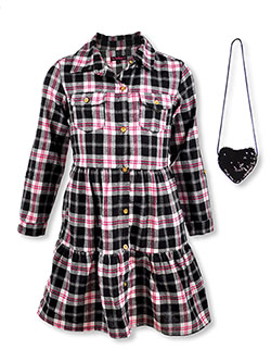 Girls' Plaid Button Dress with Purse by Chillipop in black multi and red/multi