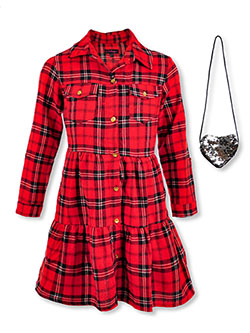 Girls' Plaid Button Dress with Purse by Chillipop in Black multi
