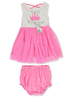 Princess Dress with Diaper Cover by Girls Hearts in Multi