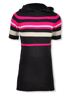 Girls' Striped Hooded Sweater Dress by Chillipop in fuchsia/multi and wine/multi, Girls Fashion