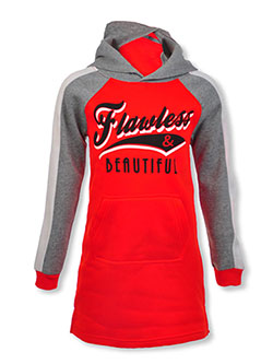 Girls' Flawless Hoodie Dress by Chillipop in pink/multi, red/multi and royal/multi