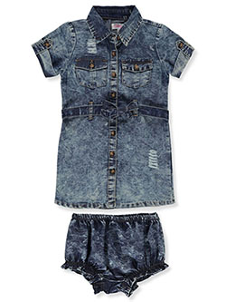 Baby Girls' Denim Dress With Diaper Cover by Chilipop in dark wash and light acid wash - $16.00