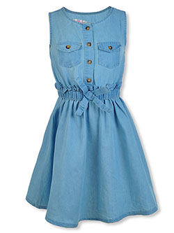 Girls' Sleeveless Denim Dress by Chilipop in Denim