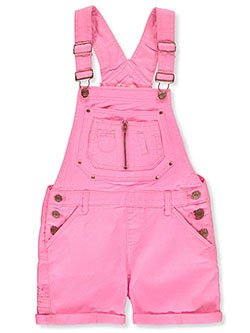 Girls' Denim Shortalls by Chillipop in hot pink, lime and white